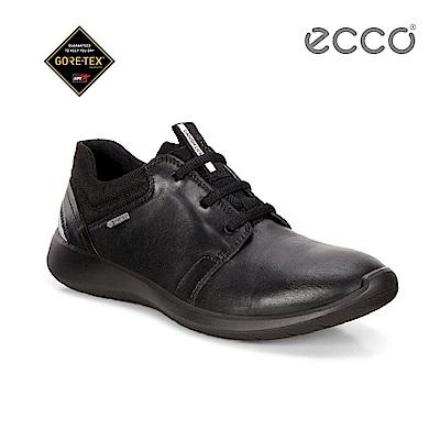 ECCO SOFT 5 防水功能舒適休閒鞋-黑
