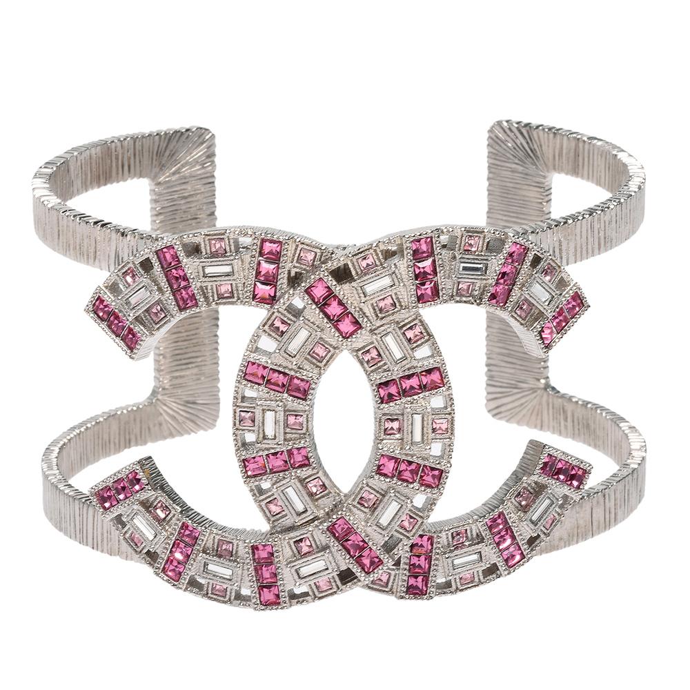 CHANEL 香奈兒經典雙C LOGO簍空造型雙色水鑽鑲嵌手環(粉-銀)