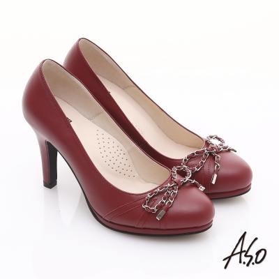 A.S.O 優雅時尚 真皮鍊帶蝴蝶結飾高跟鞋 紅
