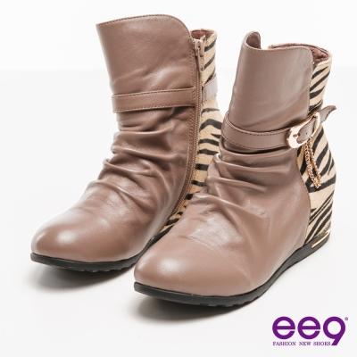 ee9野性風潮~質感豹紋馬毛拼接金屬扣環繫帶內增高短靴*可可色