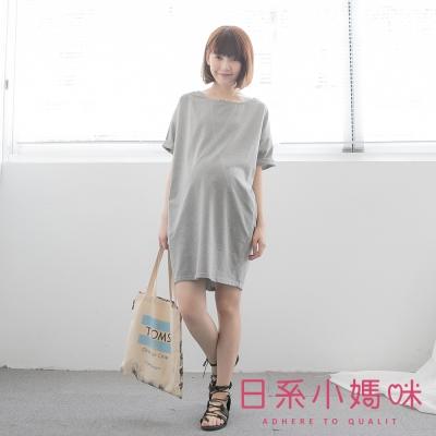 日系小媽咪孕婦裝-韓製孕婦裝-交叉造型車線寬版洋裝