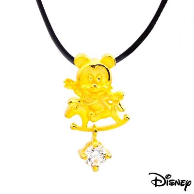 Disney迪士尼金飾 木馬米奇黃金墜子 送項鍊