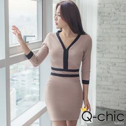 韓系V領撞色滾邊修身洋裝 (共二色)-Q-chic