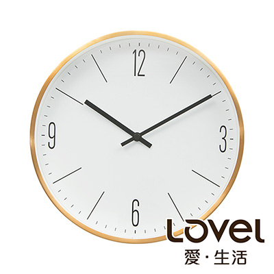Lovel 30cm髮絲金框靜音時鐘(7211-GD)