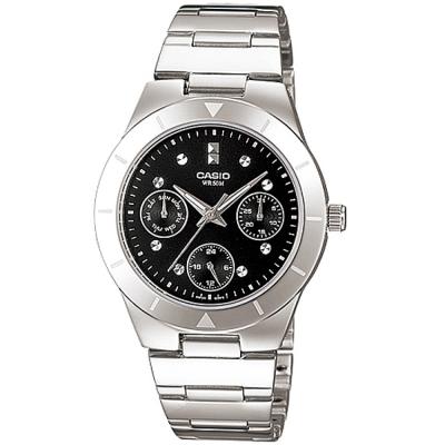 CASIO 自信魅力三眼知性女鐵帶錶腕(LTP-2083D-1A)-黑色