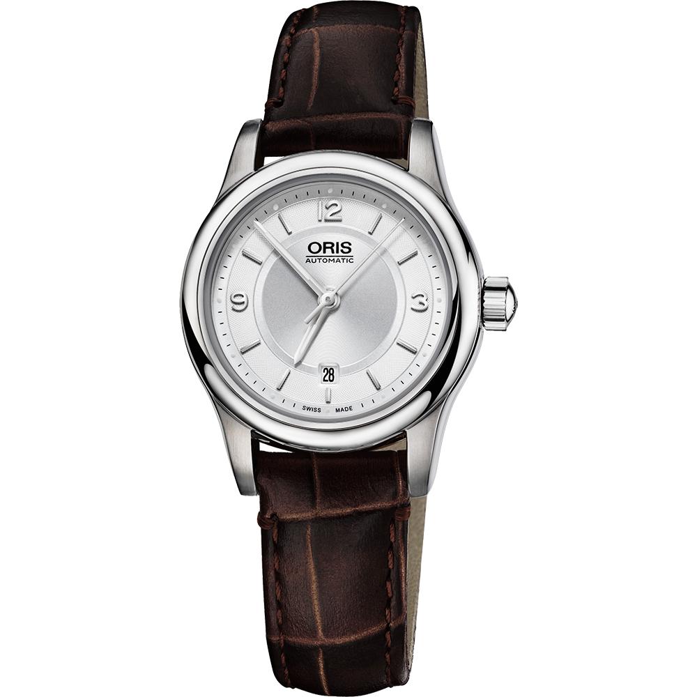 Oris Classic 古典系列品味時尚機械女錶-銀x咖啡/28.5mm