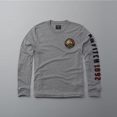 A&F 經典刺繡徽章手臂文字設計長袖T恤-灰色 AF Abercrombie