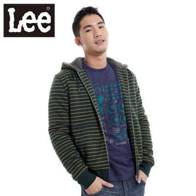 Lee-厚T外套-絨毛內裡連帽拉鍊條紋-男款-綠