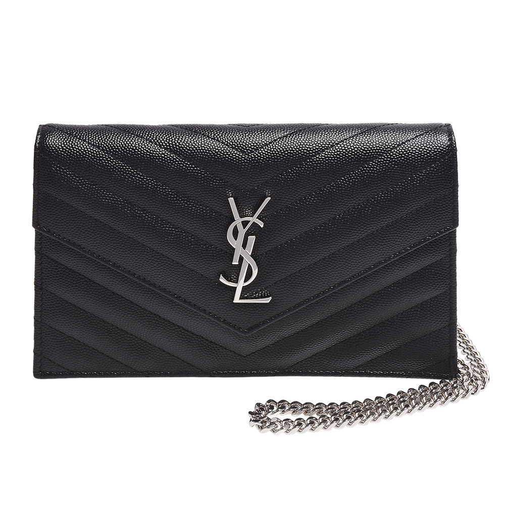 YSL MONOGRAM系列V字縫線魚子醬牛皮金屬LOGO銀鍊肩背信封包(黑)