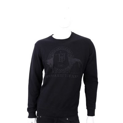 TRUSSARDI 經典獵犬圖騰刺繡黑色長袖棉質T恤