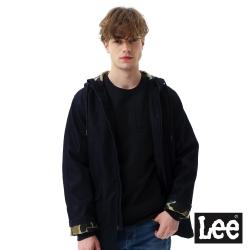 Lee 連帽長版牛仔外套-男款-深藍