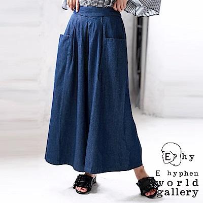 E hyphen 口袋設計牛仔寬擺褲