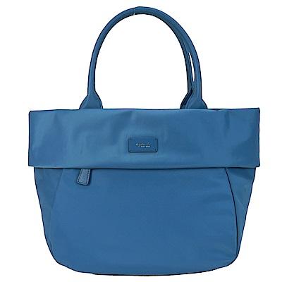 agnes.b 皮標翻領船型手提包-小/土耳其藍