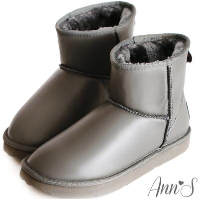 Ann-S俏皮甜心-防潑水素面短筒雪靴-灰