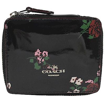 COACH 金屬LOGO花朵圖樣漆皮飾品盒(黑)