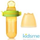 英國kidsme-咬咬樂輔食器擠壓式-圓孔-黃綠