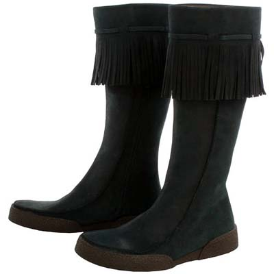 POLLINI 黑色麂皮流蘇造型中筒靴(展示品)