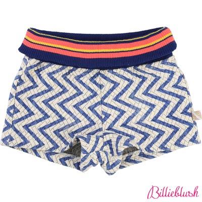 Billieblush女童藍色線條民俗風短褲