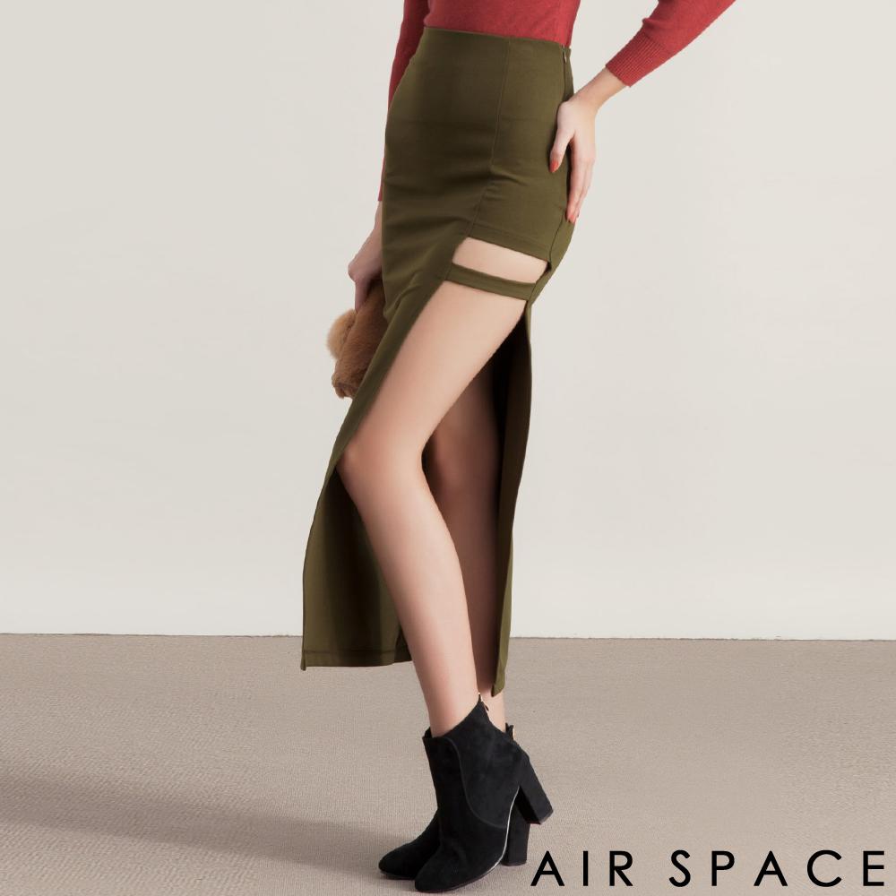 AIR SPACE性感鏤空不對稱繫帶高腰長裙軍綠