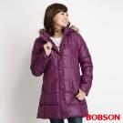 BOBSON 女款長版絲棉外套(紅紫62)