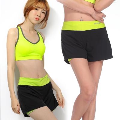 運動褲 防走光舒適透氣內襯瑜珈慢跑運動褲-螢光黃 LOTUS