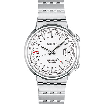 MIDO美度 All Dial GMT世界時區機械錶-銀/42mm