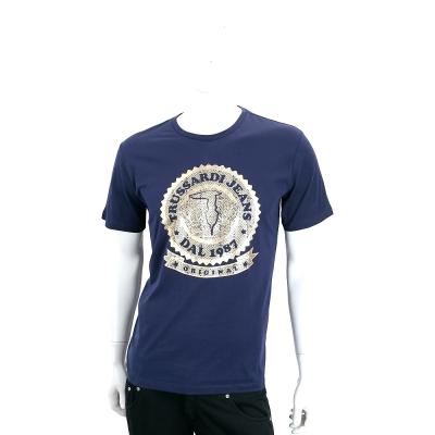 TRUSSARDI-JEANS 藍色燙金圖騰LOGO棉質短袖T恤