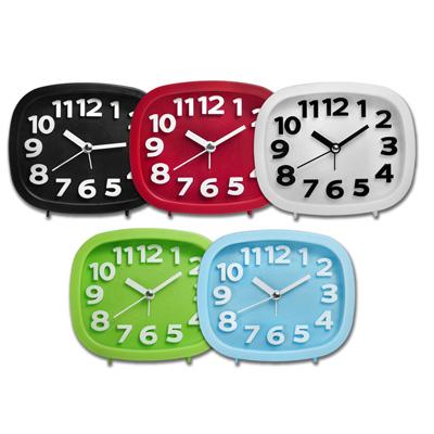 現代居家簡約方型鬧鈴大數字鬧鐘 - 黑紅白綠水藍