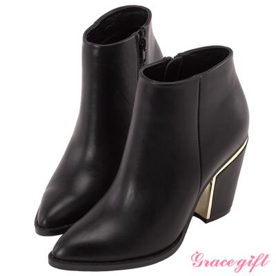 Grace gift X Wei唐葳-簡約個性金屬粗跟短靴 黑