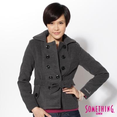 SOMETHING英倫淑女-毛呢雙排扣綁帶外套-女款-暗灰色