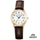 ORIENT 東方錶TRADITIONAL STYLE系列復古石英錶-白玫瑰金框/28mm