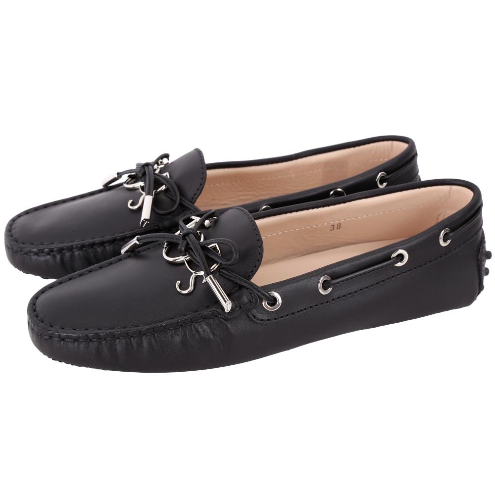 TOD'S Gommino 新版字母牛皮休閒豆豆鞋(女鞋/黑色)