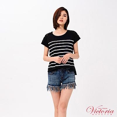 Victoria 肩網布剪接印條紋短袖T-女-黑底白條