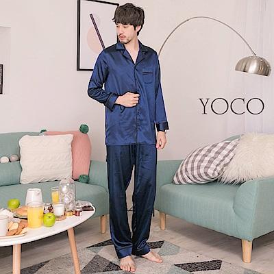 東京著衣-yoco暖男形象情侶款緞面睡衣兩件式套裝-S.M.L(共一色)