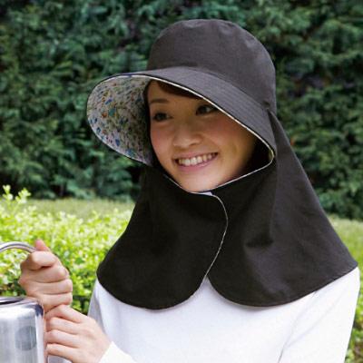 【Sunlead】雙色雙面可戴。日系馬尾款防曬護頸抗UV遮陽帽 (黑色/花朵)