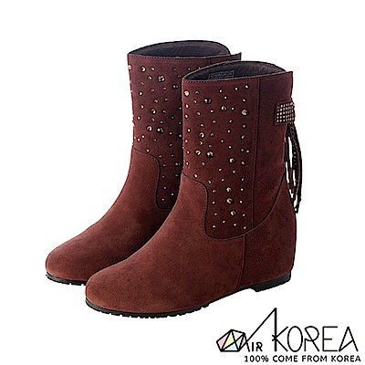 【AIRKOREA】真皮手感鞋面點綴亮飾隱形內增高靴 ↑7cm 咖啡
