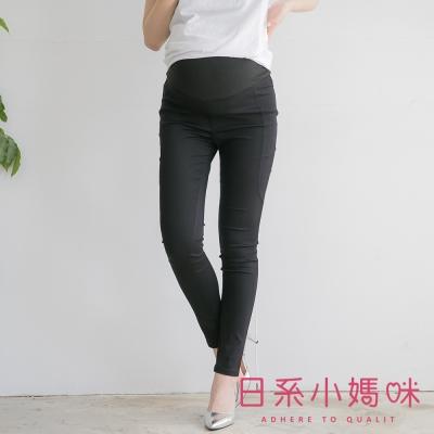 日系小媽咪孕婦裝-台製孕婦褲~側邊造型車線窄管褲 M-XXL (共二色)