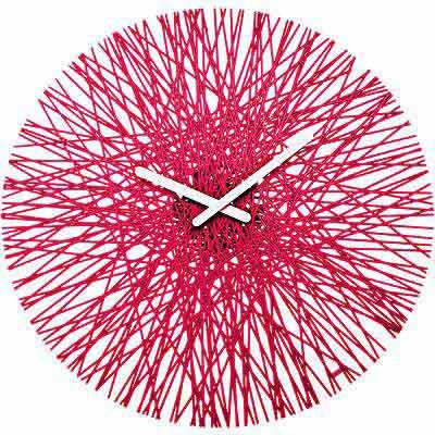 KOZIOL Silk網紋壁面時鐘(透紅)