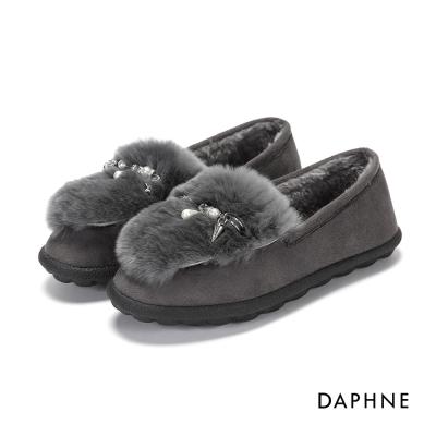 達芙妮DAPHNE 平底鞋-珍珠墜飾內外毛絨平底鞋-灰