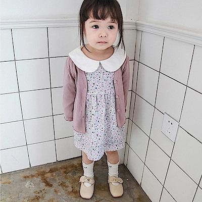 Baby unicorn 深粉直條壓紋開扣長袖外套