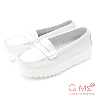 G.Ms. 牛皮莫卡辛厚底鬆糕鞋B款-白色
