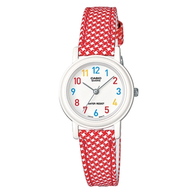 CASIO-復古新美學格鳥紋氣質指針腕錶-紅26mm