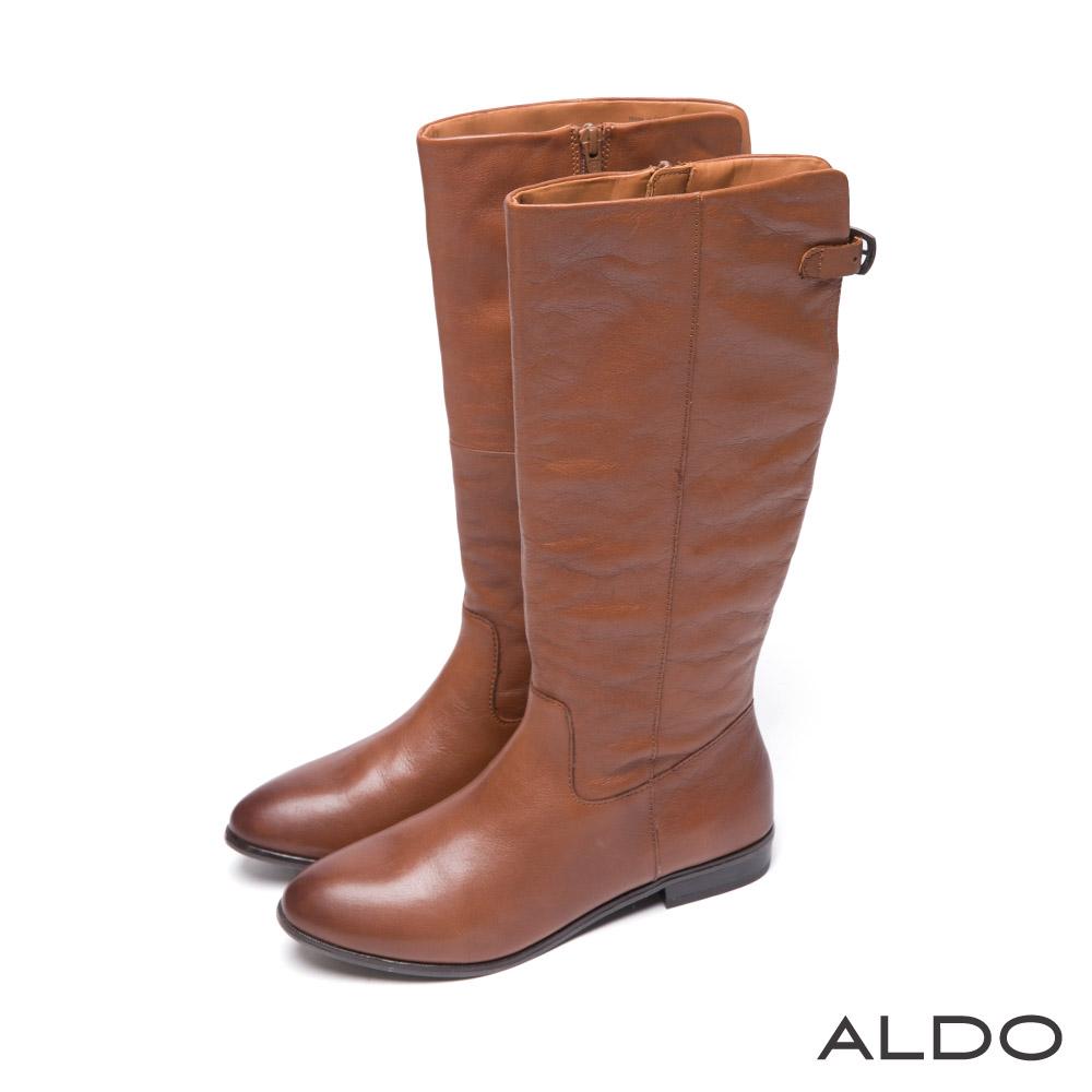 ALDO 中性都會原色真皮幾何金屬釦帶靴~個性焦糖