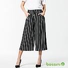 bossini女裝-條紋七分寬褲01黑