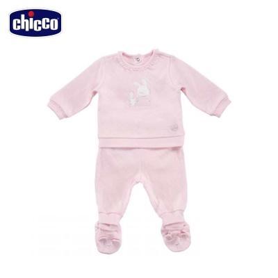 chicco小天鵝夾棉連身衣套裝-粉(6個月-18個月)