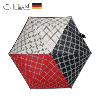 德國kobold酷波德 潮F撞色系列-超輕巧抗UV遮陽防曬花紋三折傘-黑色