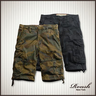 【 Roush 】迷彩鉚釘設計雙口袋水洗短褲 (3色)