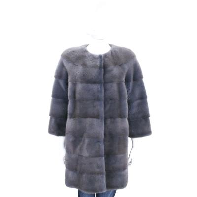 GRANDI furs 灰藍色七分袖皮草大衣