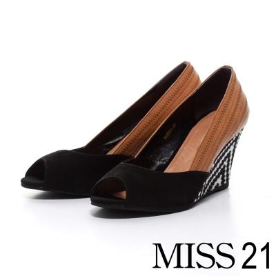 MISS-21-異材質拼接鋸齒圖騰楔形鞋-黑