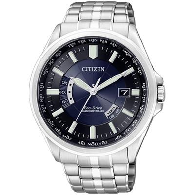 CITIZEN 深藍運動風光動能電波錶(CB0011-51L)-43mm